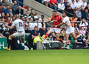 Wales' Rhys Priestland kicks through under pressure from England's Anthony Watson during the The Old Mutual Wealth Cup match England -V- Wales at Twickenham Stadium, London, Greater London, England on Sunday, May 29, 2016. (Steve Flynn/Image of Sport)