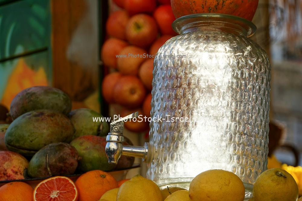 Israel, Tel Aviv, An outdoor fruit juice stall selling fresh juice