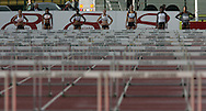 Super 8 athletics at the Cardiff International Stadium on Wed 10th June 2009. The women line up ready to start the 100m hurdles