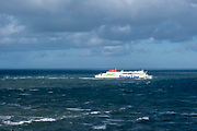 A Stena line ferry (connecting Europe) arriving back into Holyhead port after crossing the Irish Sea from Dublin in Ireland to Holyhead in the UK, on 20th February 2020 in Holyhead, Anglesey, North Wales, United Kingdom.