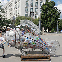 Greenpeace Stop Plastic fish in Budapest 2020