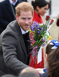 Prince Harry and Meghan Markle visit Hamilton Square in Birkenhead to view a sculpture of poet Wilfred Owen and to meet the people of Birkenhead, Merseyside, UK, on the 14th January 2019. 14 Jan 2019 Pictured: Prince Harry, Duke of Sussex. Photo credit: James Whatling / MEGA TheMegaAgency.com +1 888 505 6342