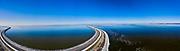 Nederland, Flevoland, Houtribdijk; 22-02-2021; zicht op het Markermeer (links) en IJsselmeer (rechts), richting Lelystad.<br /> <br /> drone-opname (luchtopname, toeslag op standaard tarieven);<br /> drone recording (aerial, additional fee required);<br /> copyright foto/photo Siebe Swart