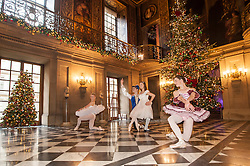 Chatsworth House Christmas Press Launch - <br /> Christmas 2016 willl see Chatsworth House transformed to present the festive tale of the Nutcracker. Complete with lavish costumes, beautiful decorations, wonderful stage sets it will transport everyone to a fairytale world populated by Nutcracker soldiers; elegant ballerinas and dancing snowflakes. All the cast will be on view - from the Mouse King and the Sugar Plum Fairy to the Nutcracker and Clara -  <br /> Dancers from The Claire Dobinson School of Dancing based in Darley Dale, Matlock, Derbyshire, www.clairedobinsonschoolofdancing.co.uk include (from left to right)  Daisy Kerry, Ben Jones, Daisy Edwards and Alice Rathbone depict the story in a series of stunning tableau scenes throughout the house. <br /> <br /> <br /> <br />   04 October 2016<br />   Copyright Paul David Drabble<br />   www.pauldaviddrabble.photoshelter.com
