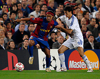 Photo: Richard Lane.<br /> Barcleona v Chelsea. UEFA Champions League, Group A. 31/10/2006. <br /> Barcelona's Ronaldinho is challenged by Chelsea's Khalid Boulahrouz.