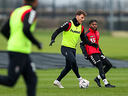 Chris Martin and Owura Edwards of Bristol City during a training session ahead of the FA Cup game with Portsmouth - Rogan/JMP - 07/01/2021 - Failand - Bristol, England.