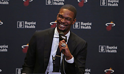 March 26, 2019 - Miami, Florida, USA - Former Miami Heat forward Chris Bosh speaks with the Media before his jersey retirement ceremony during halftime of an NBA basketball game against the Orlando Magic at the AmericanAirlines Arena on Tuesday, March 26, 2019 in Miami. (Credit Image: © David Santiago/Miami Herald/TNS via ZUMA Wire)