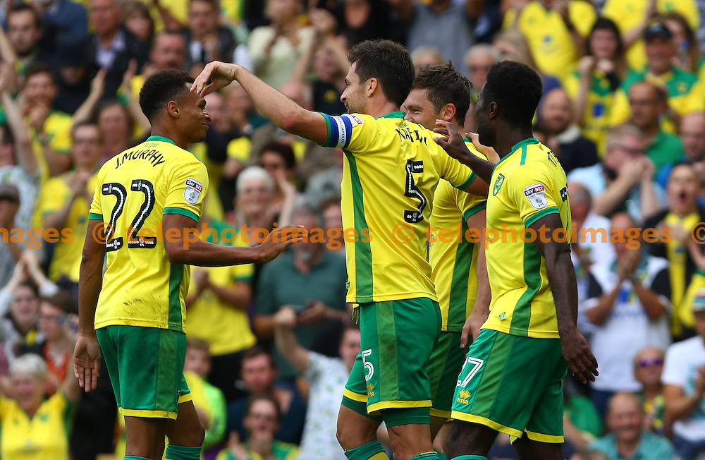 Russell Martin of Norwich City (5) celebrates scoring during the Sky Bet Championship match between Norwich City and Cardiff City at Carrow Road in Norwich. September 10, 2016.<br /> Arron Gent / Telephoto Images<br /> +44 7967 642437