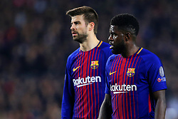 Samuel Umtiti and Gerard Pique of Barcelona - Mandatory by-line: Matt McNulty/JMP - 14/03/2018 - FOOTBALL - Camp Nou - Barcelona, Catalonia - Barcelona v Chelsea - UEFA Champions League - Round of 16 Second Leg