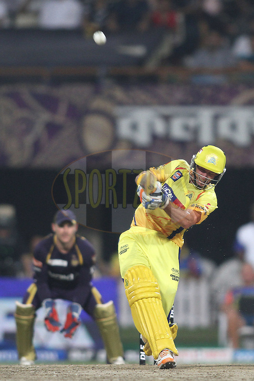 Michael Hussey of the Chennai Super Kings hits over the top for six during match 63 of the the Indian Premier League (IPL) 2012  between The Kolkata Knight Riders and The Chennai Superkings held at the Eden Gardens Stadium in Kolkata on the 14th May 2012..Photo by Shaun Roy/IPL/SPORTZPICS