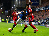 Football - 2021 / 2022  UEFA Europa League - Group A, Round One - Glasgow Rangers vs Lyon - Ibrox stadium - Thursday 16th September 2021<br /> <br /> Ryan Kent of Rangers vies with Malo Gusto of Olympique Lyonnais<br /> <br /> Credit: COLORSPORT/Bruce White