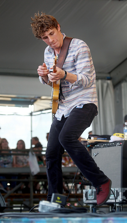 27 April 2012. New Orleans, Louisiana,  USA. .New Orleans Jazz and Heritage Festival. .Taylor Guarisco of the band 'Givers' from Lafayette..Photo; Charlie Varley.