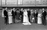 """16/09/1967<br /> 09/16/1967<br /> 16 September 1967<br /> Wedding of Mr Francis W. Moloney, 28 The Stiles Road, Clontarf and Ms Antoinette O'Carroll, """"Melrose"""", Leinster Road, Rathmines at Our Lady of Refuge Church, Rathmines, with reception in Colamore Hotel, Coliemore Road, Dalkey. Image shows (l-r); Unnamed gentleman; Matron of Honour Gladys McGloughlin; Mr  Patrick Moloney; Mrs Dudley; the Bride and Groom; Mr Dudley O'Carroll; Mrs Moloney; Bestman, Michael Power and unnamed Bridesmaid outside the hotel."""