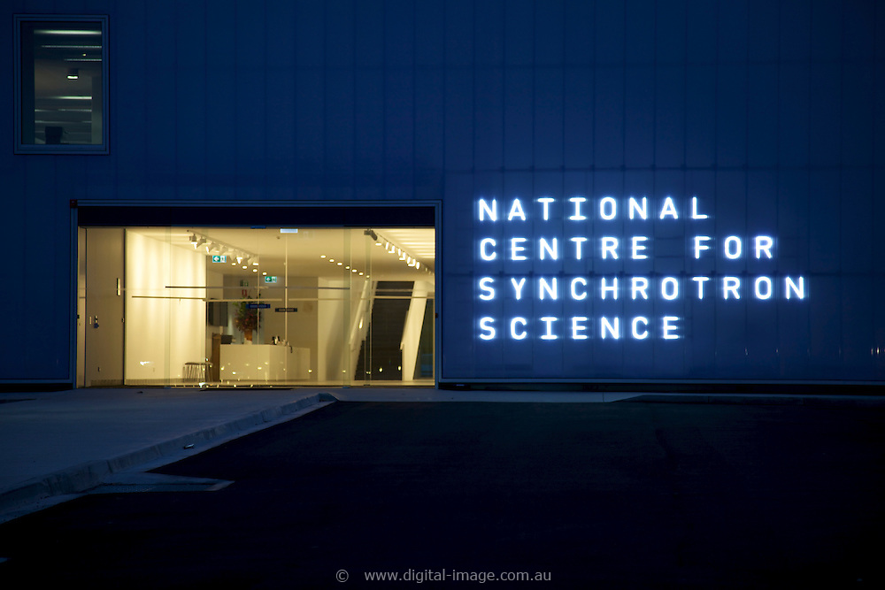 The National Centre for Synchrotron Science (NCSS) at the Australian Synchrotron, external view of the building at night.