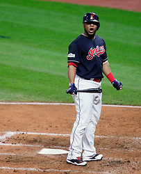 October 11, 2017 - Cleveland, OH, USA - The Cleveland Indians' Edwin Encarnacion reacts to a strike out in the fourth inning against the New York Yankees during Game 5 of the American League Division Series, Wenesday, Oct. 11, 2017, at Progressive Field in Cleveland. (Credit Image: © Leah Klafczynski/TNS via ZUMA Wire)