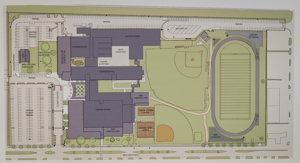 Houston ISD staff and Gensler architects give an update on site plans for Waltrip High School, August 21, 2014.