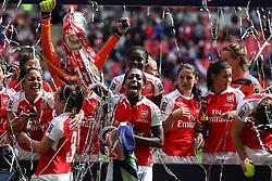 Danielle Carter of Arsenal Ladies celebrates winning the SSE Women's FA Cup - Mandatory byline: Jason Brown/JMP - 14/05/2016 - FOOTBALL - Wembley Stadium - London, England - Arsenal Ladies v Chelsea Ladies - SSE Women's FA Cup
