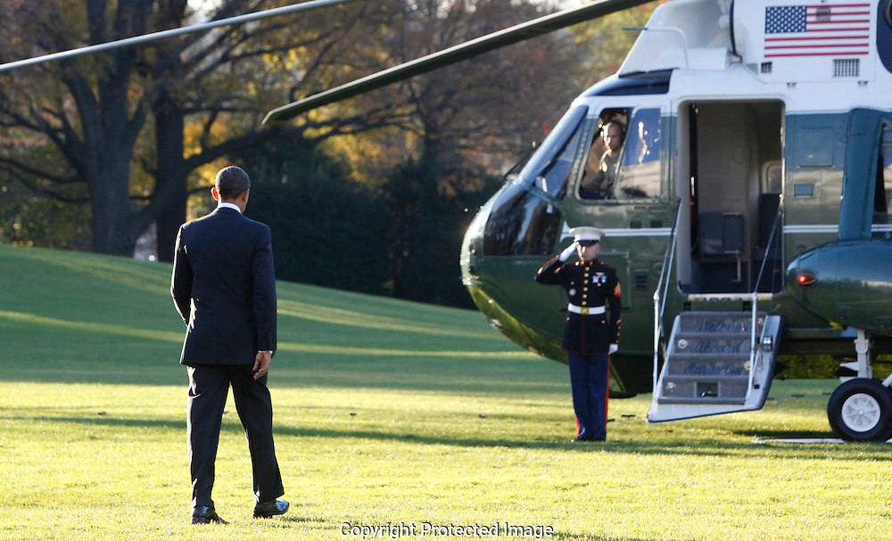 President Barack Obama departs the White House for a trip to South East Asia on November 17, 2012. photo by Dennis Brack...