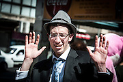 Young orthodox teen in Purim costume Photographed in Bnei Brak, Israel