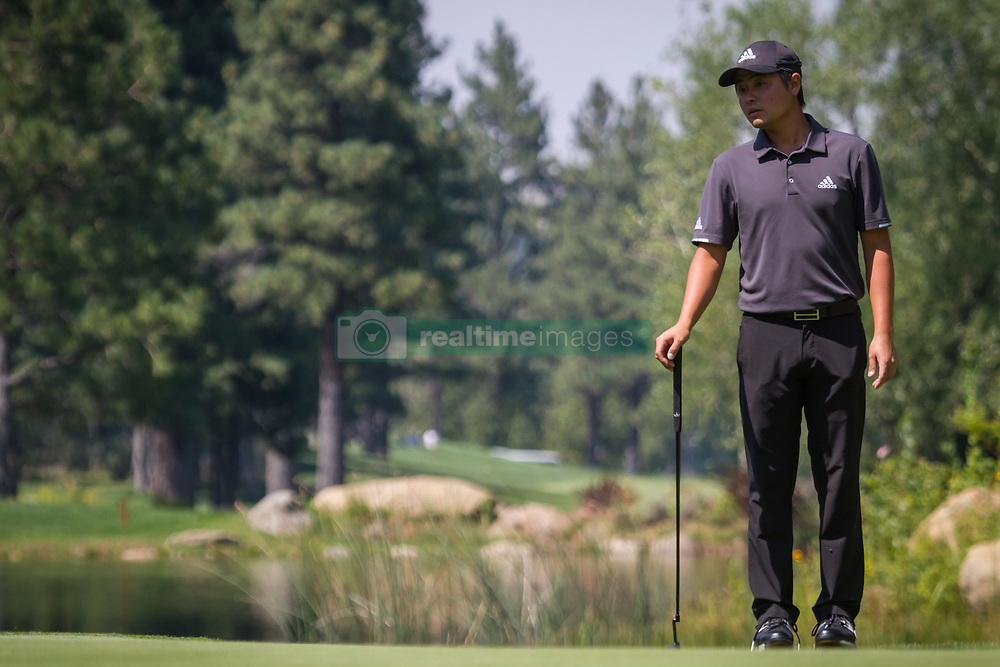 August 5, 2018 - Reno, Nevada, U.S - Sunday, August 5, 2018.JOHN ODA inspects the green while waiting his turn to putt during the 2018 Barracuda Championship at the Montreux Golf & Country Club in Reno, Nevada...The Barracuda Championship Golf Tournament is one of only 47 stops on the PGA Tour worldwide, and has donated nearly $4 million to charity since 1999. Opened in 1997, the par-72 course was designed by Jack Nicklaus, plays at 7,472 yards (6,832 m) and its average elevation is 5,600 feet (1,710 m) above sea level...The Montrux Golf and Country Club is located midway between Reno and Lake Tahoe...The tournament champion, Andrew Putnam, received a check in the amount of $612,000. (Credit Image: © Tracy Barbutes via ZUMA Wire)