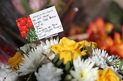 Flowers left outside the Aberfan Memorial Garden in Wales, on the 50th anniversary of the Aberfan disaster.