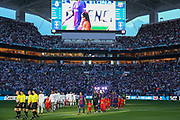 teams walk out to the pitch during the International Champions Cup match between Real Madrid and FC Barcelona at the Hard Rock Stadium, Miami on 29 July 2017.