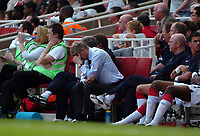 Photo: Tony Oudot.<br /> Arsenal v Bolton Wanderers. The Barclays Premiership. 14/04/2007.<br /> Arsenal manager Arsene Wenger is dejected as Arsenal go one nil down