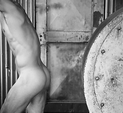 Male Nude in an industrial site