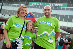 Supporters of Slovenia prior to the friendly match between National teams of Slovenia and Turkey for Eurobasket 2013 on August 4, 2013 in Arena Zlatorog, Celje, Slovenia. (Photo by Vid Ponikvar / Sportida.com)