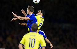 Nemanja Matić of Chelsea vs Marcos Tavares of Maribor during football match between Chelsea FC and NK Maribor, SLO in Group G of Group Stage of UEFA Champions League 2014/15, on October 21, 2014 in Stamford Bridge Stadium, London, Great Britain. Photo by Vid Ponikvar / Sportida.com