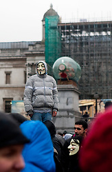 © Under license to London News Picures. Student demonstrate against plans to increase tuition fees at Trafalgar Square, London today (30/11/2010).This is the third day of student action. Photo credit should read: Fuat Akyuz/London News Pictures