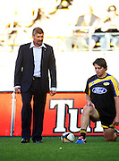 Hurricanes coach Colin Cooper with Danes Coles before the match.<br /> Super 14 match. Hurricanes v Waratahs at Westpac Stadium, Wellington. Saturday, 14 February 2009. Photo: Dave Lintott/PHOTOSPORT