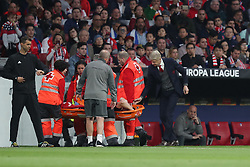 May 3, 2018 - Madrid, Spain - Manager ARSENE WENGER looks at LAURENT KOSCIELNY of Arsenal FC while is carried off the pitch on stretcher during the UEFA Europa League, semi final, 2nd leg football match between Atletico de Madrid and Arsenal FC on May 3, 2018 at Metropolitano stadium in Madrid, Spain (Credit Image: © Manuel Blondeau via ZUMA Wire)