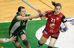 Mirjana Gojkovic of Olimpija vs Alja Jankovic of Krim at handball Slovenian cup Finals match  between RK Olimpija and RK Krim Mercator, on March 28, 2010, SD Leon Stukelj, Novo mesto, Slovenia. (Photo by Vid Ponikvar / Sportida)