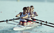 Barcelona, SPAIN.   GBR W4-. Bow, Allison BARNETT , Suzanne KIRK , Gillian LINDSAY , Kim THOMAS, 1992 Olympic Rowing Regatta Lake Banyoles, Catalonia [Mandatory Credit Peter Spurrier/ Intersport Images] Last time Men's coxed pair raced at the Olympics