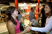 Two girls from Tecnico team having fun in Luis Figo bar in Vilamoura, after a match.