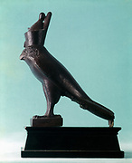 Horus, Ancient Egyptian falcon god.  Saite Epoch. Bronze statuette.