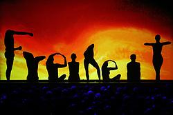 03.10.2015, Frankfurt am Main, GER, Tag der Deutschen Einheit, im Bild Schattenspielinszenierung beim Festakt in der Alten Oper Frankfurt zu Geschehnissen nach der Einheit 1990: Das Wort Freiheit vor den Farben der Deutschen Flagge, Schwarz Rot Gold // during the celebrations of the 25 th anniversary of German Unity Day in Frankfurt am Main, Germany on 2015/10/03. EXPA Pictures © 2015, PhotoCredit: EXPA/ Eibner-Pressefoto/ Roskaritz<br /> <br /> *****ATTENTION - OUT of GER*****