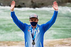 Peter Kauzer of Slovenia during medal ceremony at Kayak Finals at World Cup Tacen, 17 October 2020, Tacen, Ljubljana Slovenia. Photo by Grega Valancic / Sportida