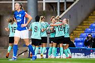 GOAL scores 3-0 Brighton & Hove Albion defender Danielle Carter (18) scores and celebrates during the FA Women's Super League match between Birmingham City Women and Brighton and Hove Albion Women at St Andrews, Birmingham United Kingdom on 12 September 2021.