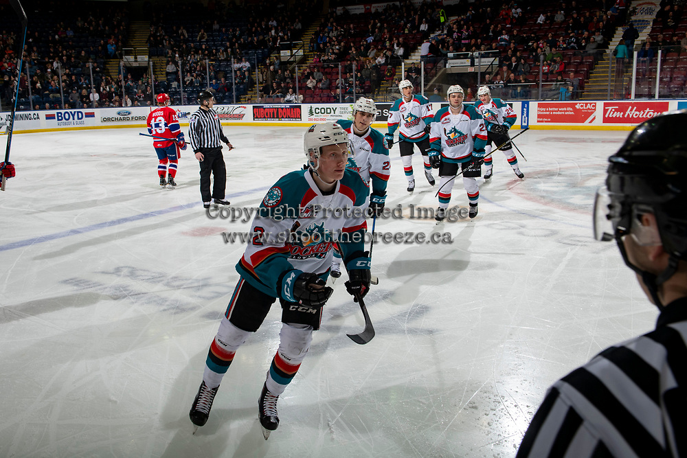 KELOWNA, CANADA - FEBRUARY 6:  Lassi Thomson #2 of the Kelowna Rockets skates to the bench to celebrate a first period goal against the Spokane Chiefs on February 6, 2019 at Prospera Place in Kelowna, British Columbia, Canada.  (Photo by Marissa Baecker/Shoot the Breeze)