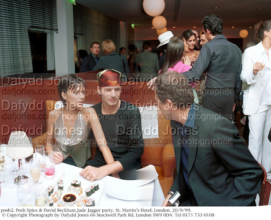 posh2. Posh Spice & David Beckham.Jade Jagger party. St. Martin's Hotel, London. 20/9/99.  © Copyright Photograph by Dafydd Jones 66 Stockwell Park Rd. London SW9 0DA  Tel 0171 733 0108