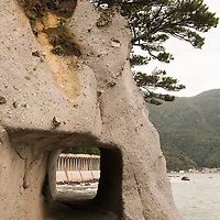The Fukuura Tunnels are carved out of pyroclastic rock, first by hand and eventually by machinery, as a means to shorten commute times between isolated communities on Dogo Island.
