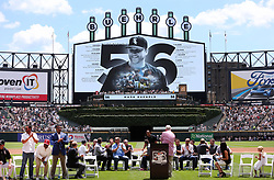 June 24, 2017 - Chicago, IL, USA - Former players, coaches, and management applaud as Chicago White Sox pitcher Mark Buehrle is honored on Mark Buehrle Day at Guaranteed Rate Field in Chicago on Saturday, June 24, 2017. (Credit Image: © Chris Sweda/TNS via ZUMA Wire)