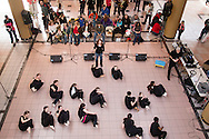 """Town of Wallkill, New York - Members of the cast of """"Peter Pan"""" from Port Jervis High School perform at the Orange County Arts Council All-County High School Musical Showcase and Arts Display at the Galleria at Crystal Run on Feb. 28, 2015. The theme of the event was: """"Arts Build Confidence""""."""