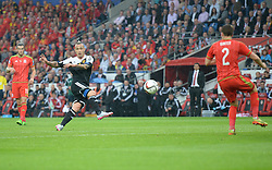 Radja Nainggolan of Belgium (Roma) shoots at goal and forces a save from Wayne Hennessey of Wales (Crystal Palace) - Photo mandatory by-line: Alex James/JMP - Mobile: 07966 386802 - 12/06/2015 - SPORT - Football - Cardiff - Cardiff City Stadium - Wales v Belgium - Euro 2016 qualifier
