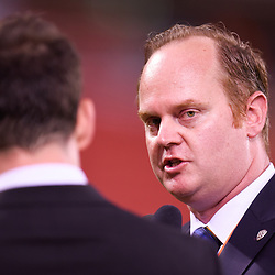 BRISBANE, AUSTRALIA - MARCH 3: David Pourre of the Roar gives an interview during the Round 22 Hyundai A-League match between Brisbane Roar and Adelaide United on March 3, 2018 in Brisbane, Australia. (Photo by Patrick Kearney / Brisbane Roar FC)