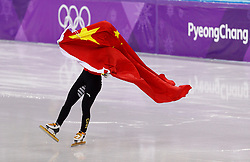 February 17, 2018 - Gangneung, South Korea - Short track speed skater Jinyu Chn of China won the silver medal and caries her county flag in the Ladies Short Track Speed Skating 1500M finals at the PyeongChang 2018 Winter Olympic Games at Gangneung Ice Arena on Saturday February 17, 2018. (Credit Image: © Paul Kitagaki Jr. via ZUMA Wire)