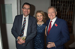Left to right, MICHAEL McMANUS and LORD & LADY LEITCH at a gala dinner to celebrate 15 Years of mothers2mothers hosted by Annie Lennox held at One Marylebone, 1 Marylebone Road, London NW1on 3rd November 2015.
