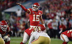 February 2, 2020, Miami Gardens, FL, USA: Kansas City Chiefs quarterback Patrick Mahomes (15) directs his offense during Super Bowl 54 against San Francisco 49ers on Feb. 2, 2020 at Hard Rock Stadium in Miami Gardens, FL. (Credit Image: © TNS via ZUMA Wire)